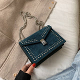 Leather Shoulder Bags with Rivet Lock Crossbody Travel Mini