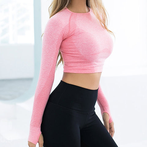 Pink Seamless Long Sleeve Crop Top Yoga Fitness Shirt with Thumb Hole