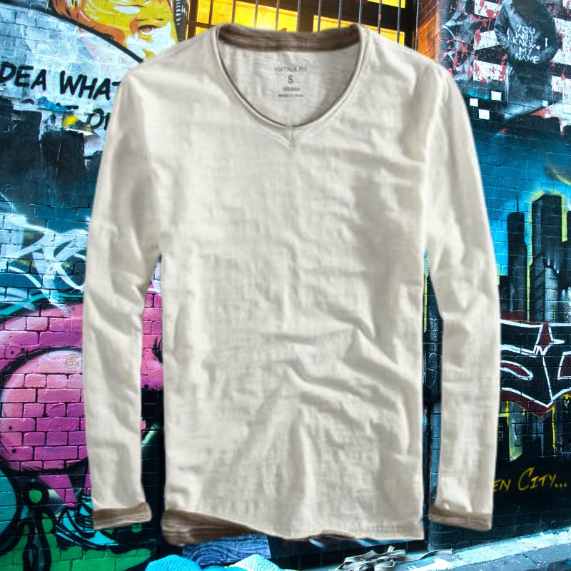 Bamboo Fiber V-neck Long Sleeve Men's Shirt for men 75k urban fashion