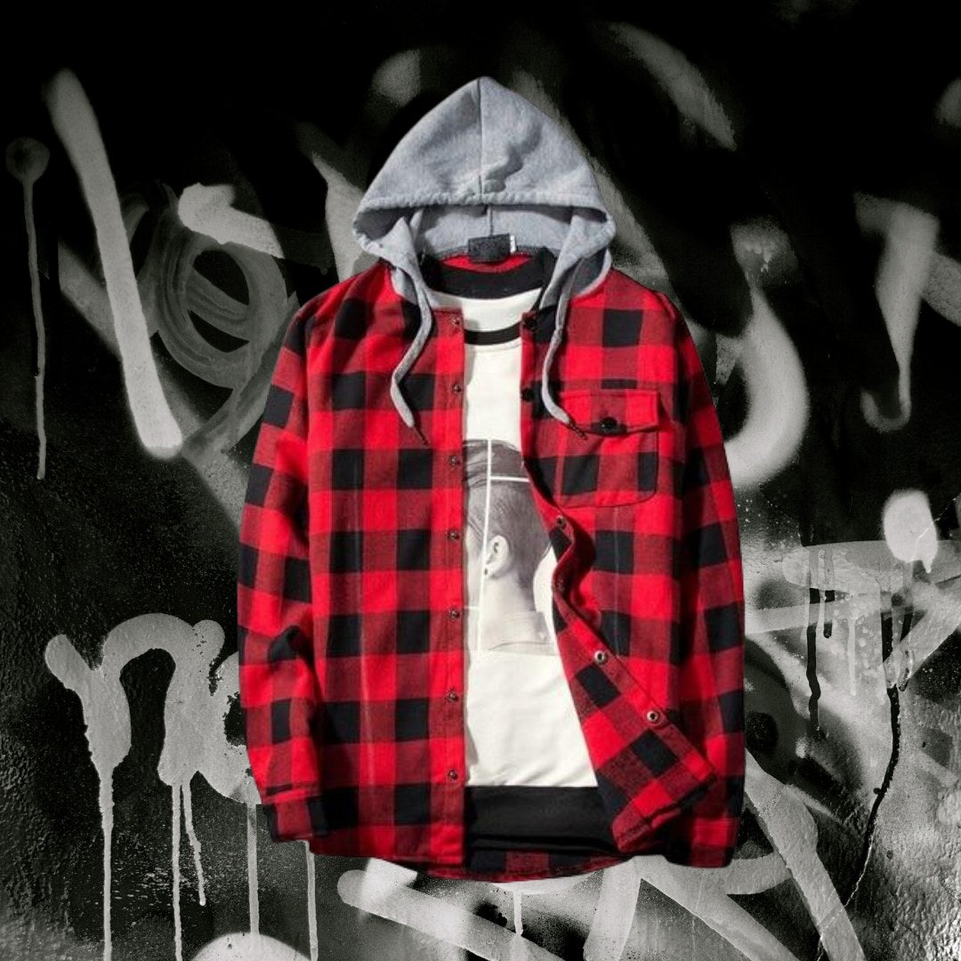 Men's Casual Checkered Hoodie