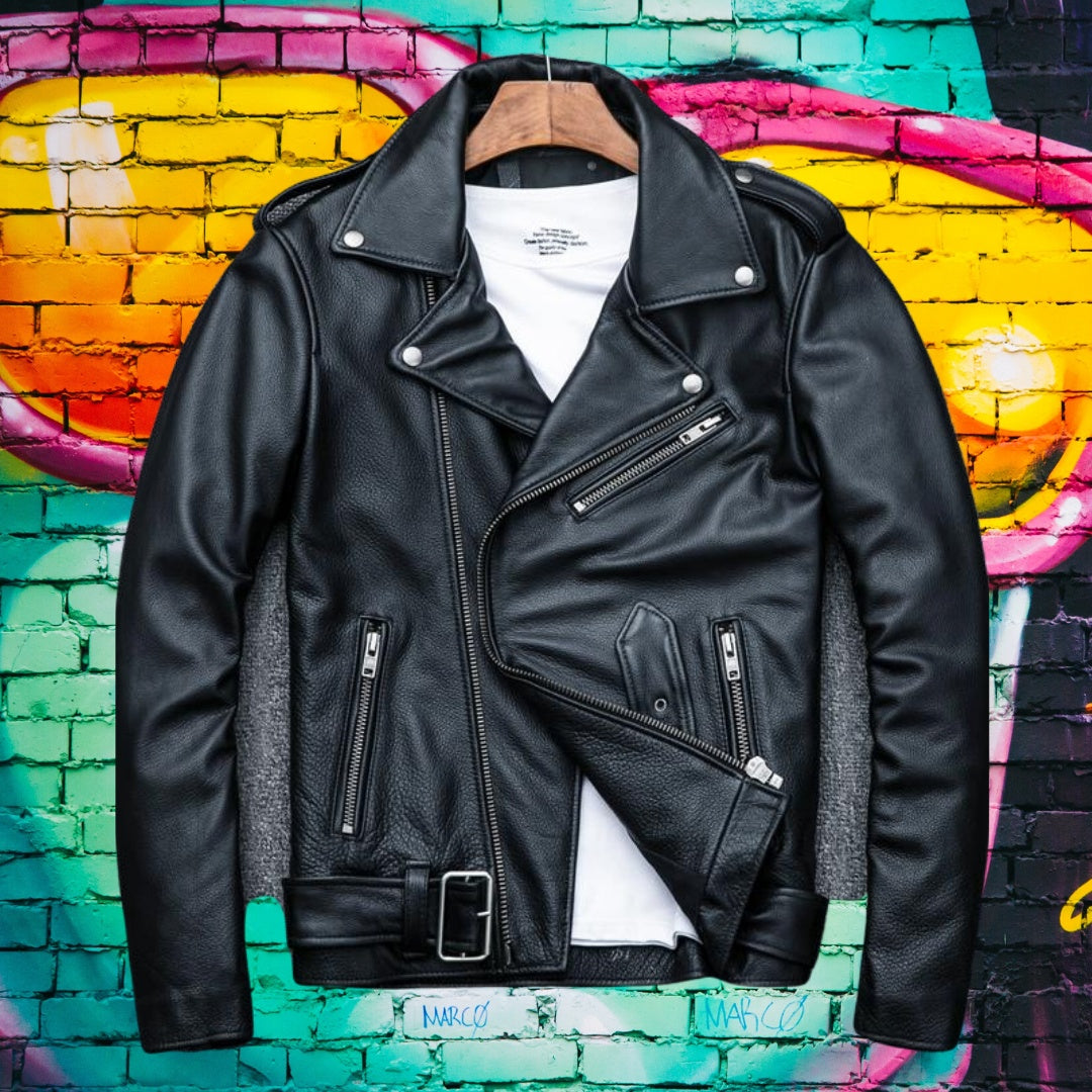 Men's Classic Motorcycle Leather Jacket for men 75k urban fashion