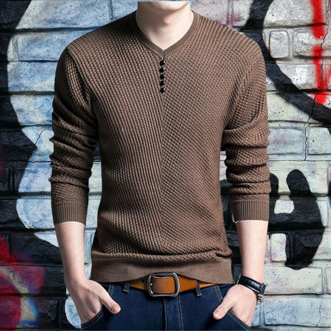 Slim-Fit Knitted Long Sleeve Sweater for men 75k urban fashion