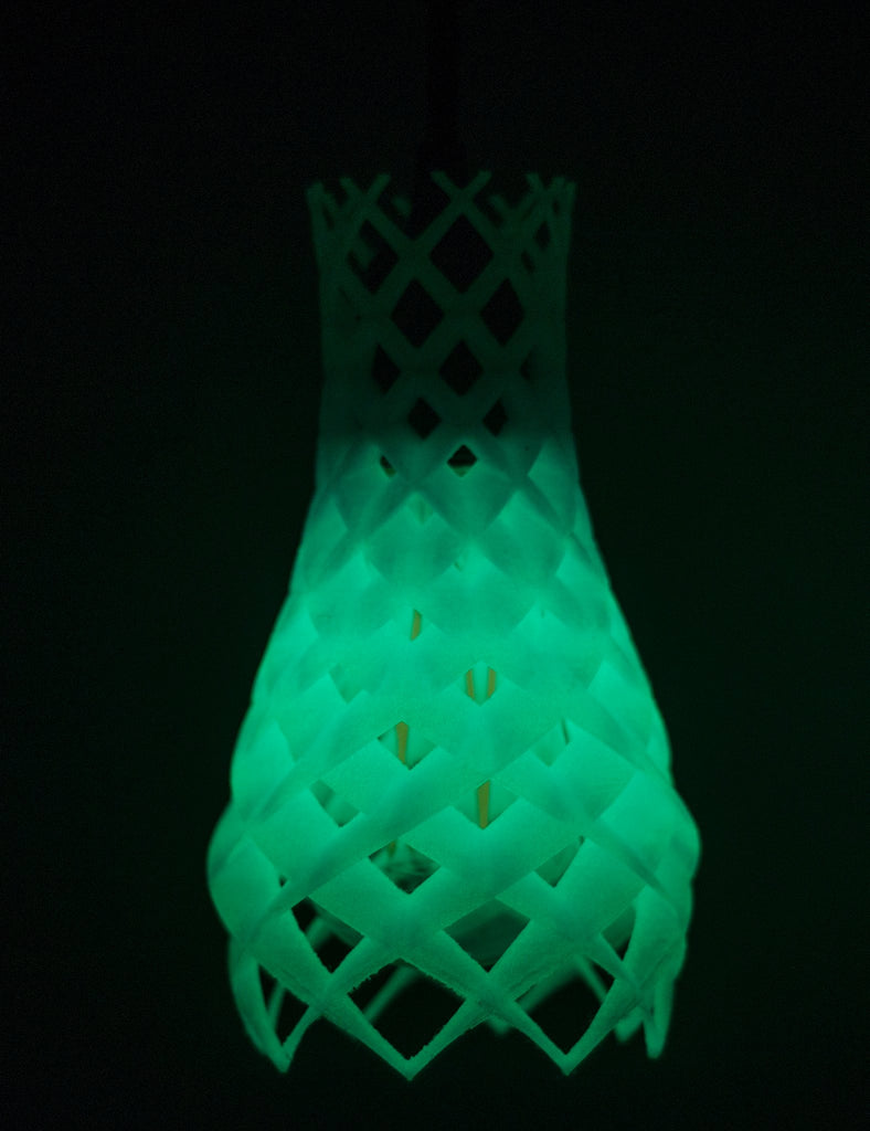 Plumen ruche 3D printed shade close up glow in the dark blue