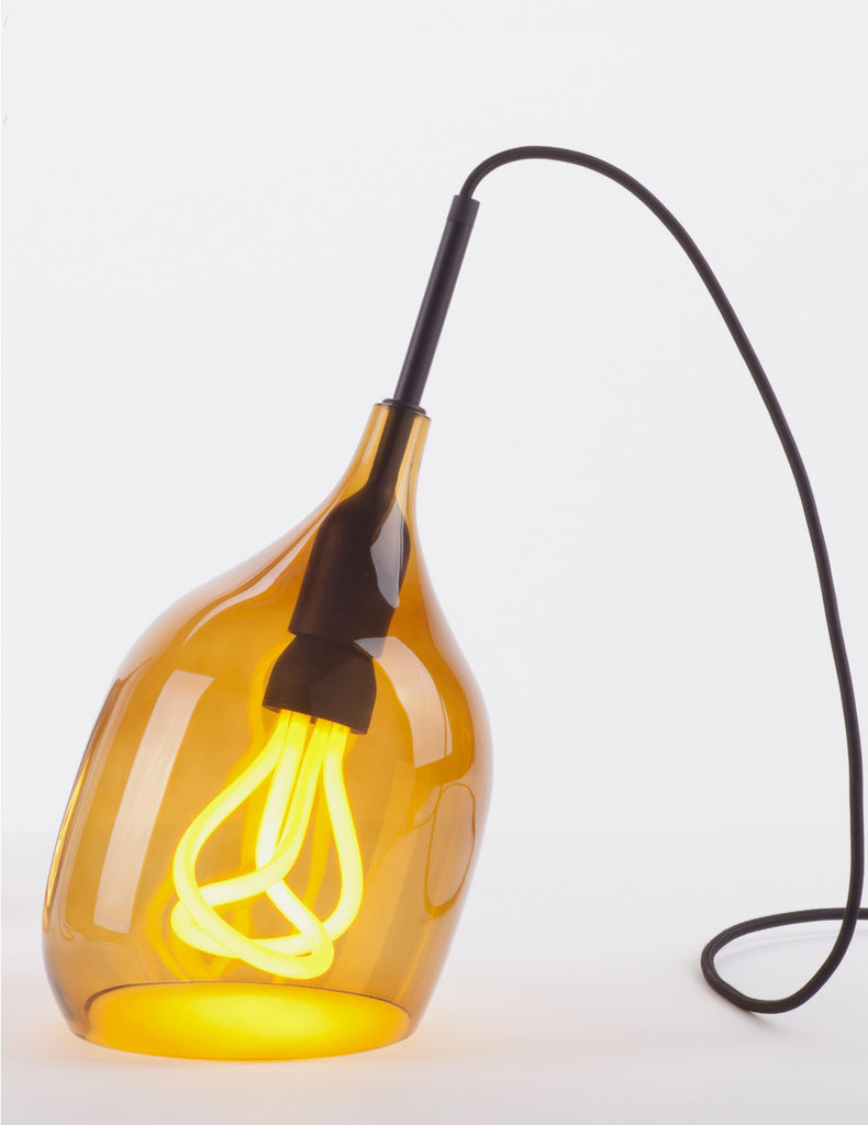 Vessel Lamp Shade - Table - Bronze Glass with Plumen 001 Bulb E26
