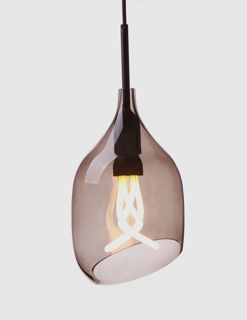 Vessel 2 Lamp Shade - Diagonal Cut - Grey Glass with Plumen 001 Bulb E26