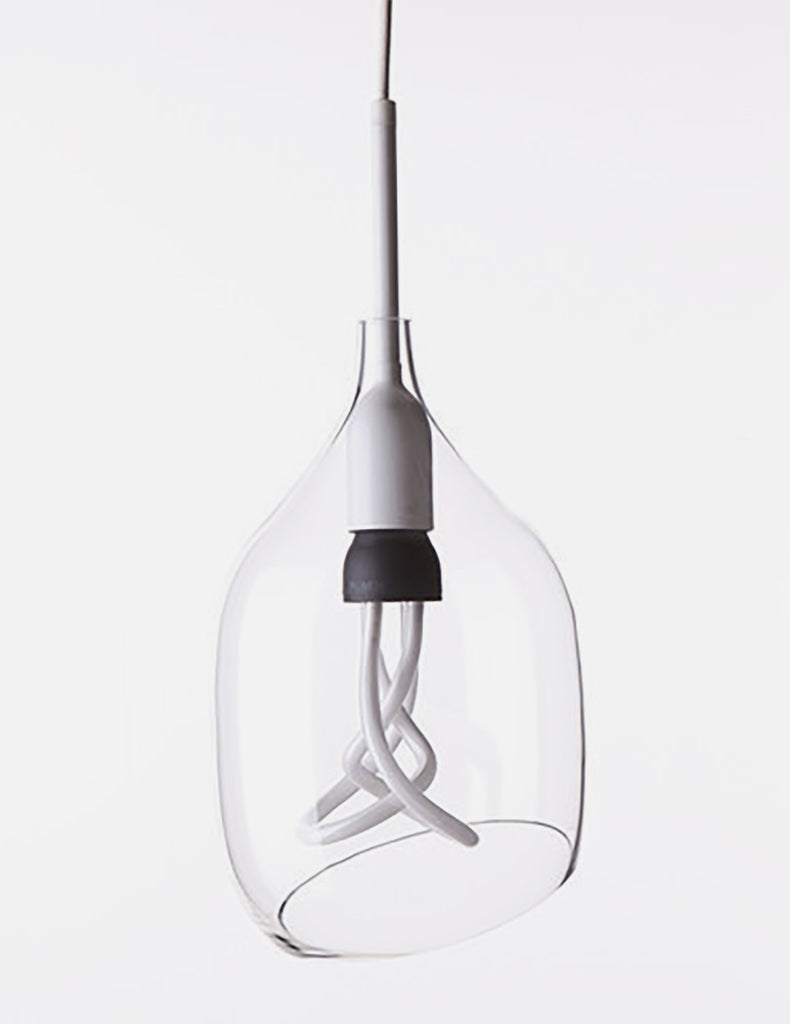 Vessel 2 Lamp Shade - Diagonal Cut - Clear Glass with Plumen 001 Bulb E26