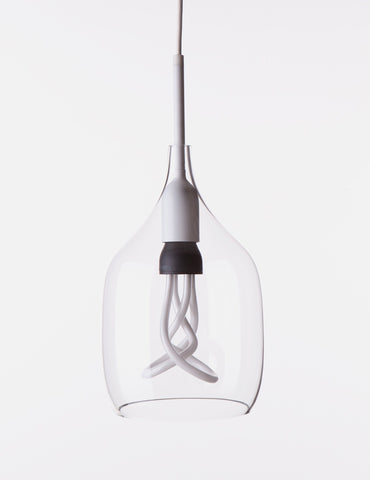 Vessel 1 Lamp Shade - Flat Cut - Clear Glass with Plumen 001 Bulb E26