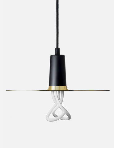 Black Drop Hat Lamp Shade Set with Baby Plumen 001 Bulb