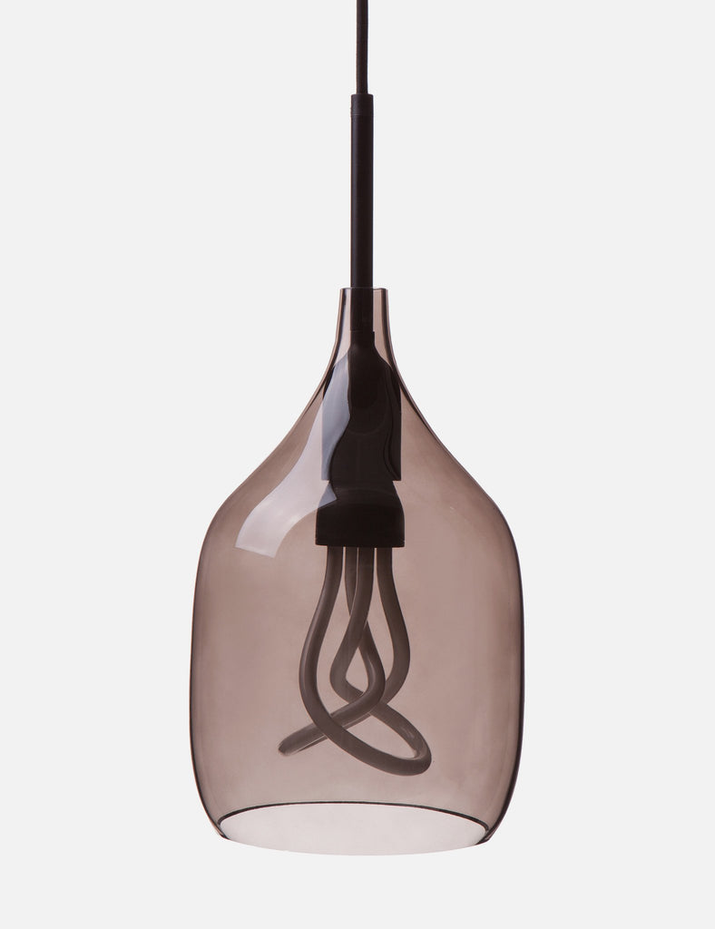 Vessel 1 Lamp Shade - Flat Cut - Grey Glass with Plumen 001 Bulb E26