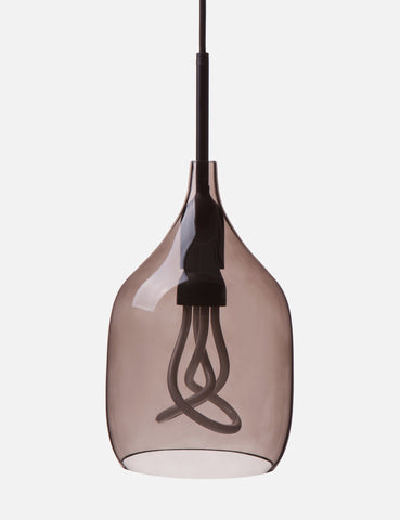 Vessel 1 Lamp Shade - Flat Cut - Grey Glass with Plumen 001 LED Bulb E26