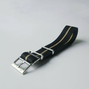 Black w/ Beige stripes - Woven strap