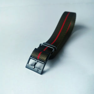 Stealth Series - Green with Red Stripes Woven Strap