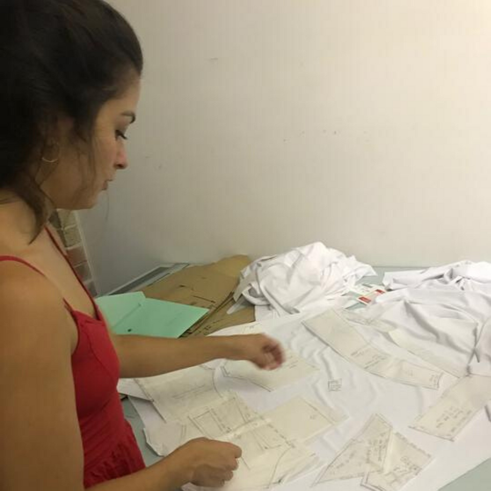 Pattern maker creating Eighteen Eves women' golf shirts. Eighteen Eves clothing is designed, made and manufactured in Australia.