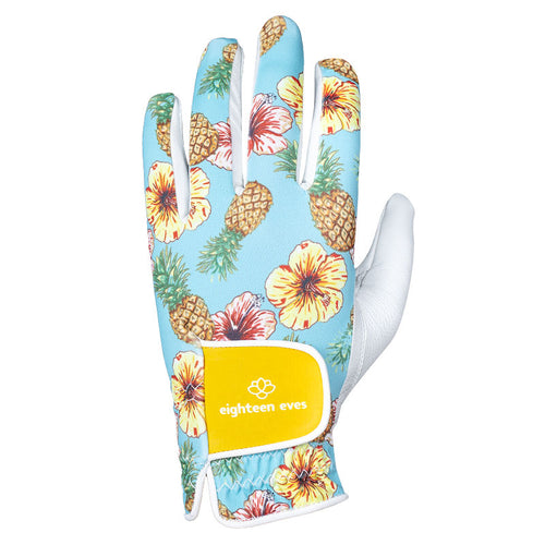 Women's Leather Golf Glove - Aloha! White - Eighteen Eves