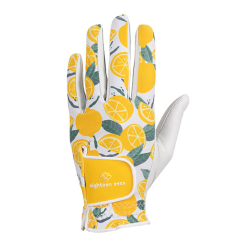 Women's Leather Golf Glove - When Life Gives You Lemons Golf White