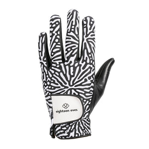 Women's Leather Golf Glove - Living Coral Black