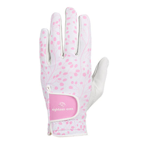 Women's golf glove with pink bud print with white leather and pink velcro tab