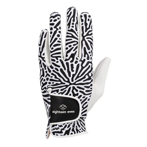 Women's Leather Golf Glove - Living Coral White