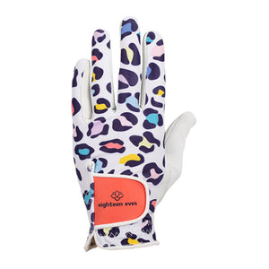 Women's golf glove with leopard print in colours purple, green, pink, yellow and blue on white leather palm.