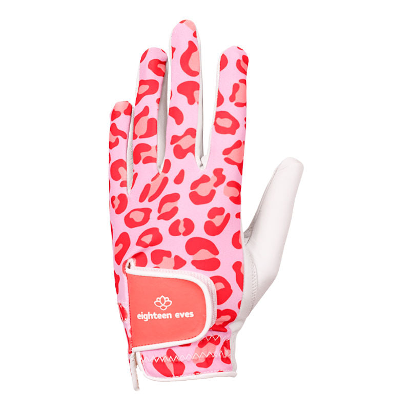 Pink leopard print on women's white leather golf glove. Available in left hand, right hand and pair.