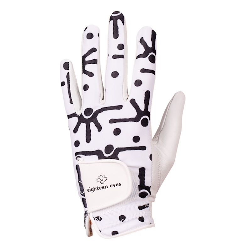 Black and white abstract print on women's white leather golf glove. Available in left hand.