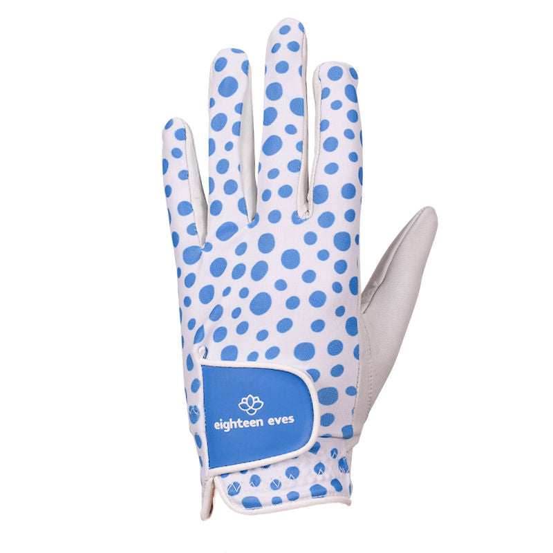 Light blue spot print on women's white leather golf glove. Available in left hand.