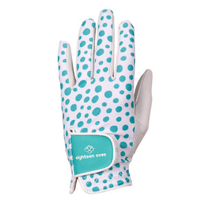 Green spotted print on women's white leather golf glove. Available in left hand.