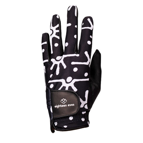 Women's Leather Golf Glove - Sunrise Spray Black - Eighteen Eves