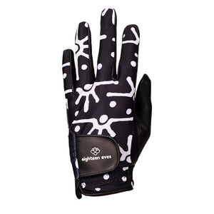 Black and white abstract print on women's black leather golf glove. Available in left hand.