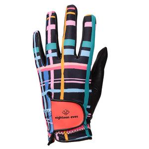 Funky and modern tartan print on women's black leather golf glove. Available in left hand, right  hand and pairs..