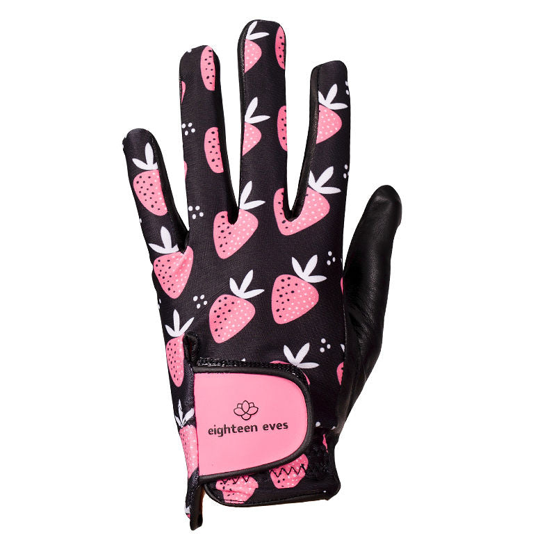 Strawberry print pattern on women's black leather golf glove. Available in left hand.