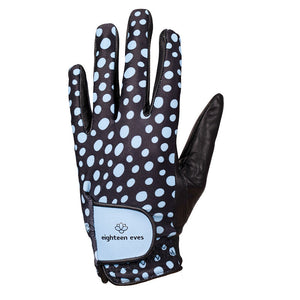 Blue spotted print on women's black leather golf glove. Available in left hand.