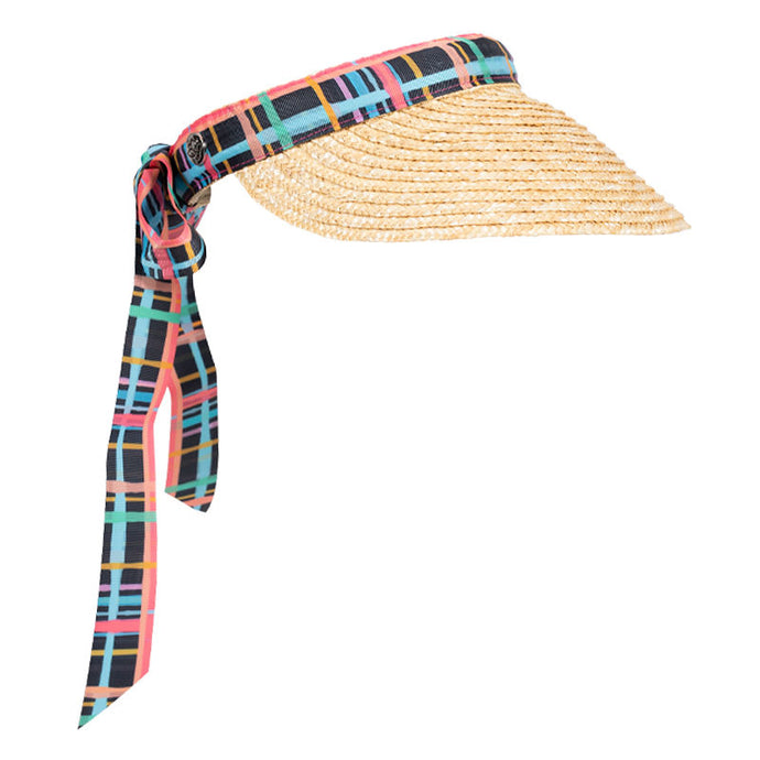 Women's golf visor with straw brim, multi-coloured tartan print band that ties into a bow at the back