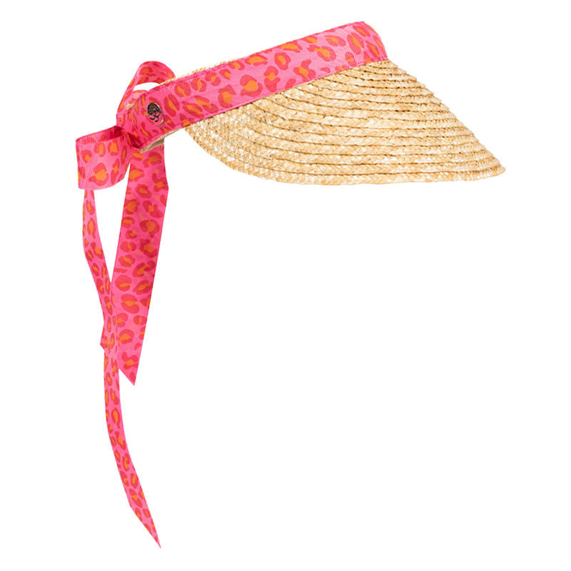 Women's golf visor with straw brim, pink leopard print band that ties into a bow at the back
