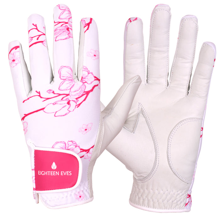 Women's Leather Golf Glove - Time to Blossom Pink - Eighteen Eves