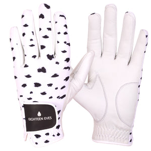 Women's Leather Golf Glove - Seeing Spots White - Eighteen Eves