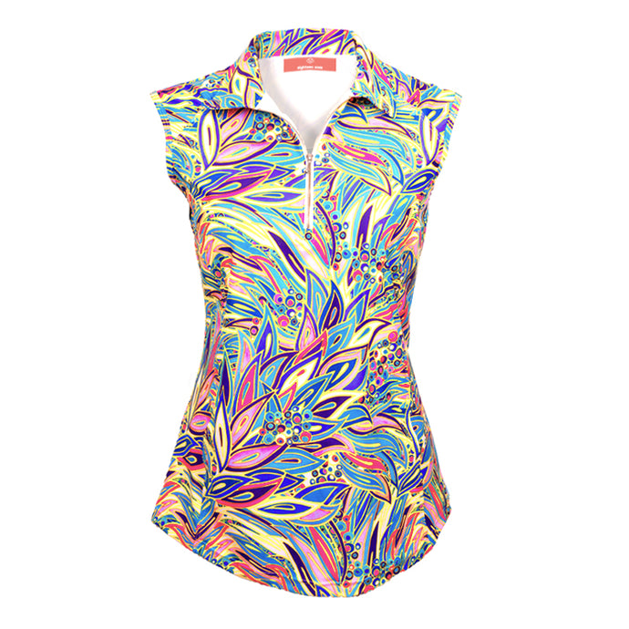 Women's Sleeveless Golf Top - Tropical Peacock with Free Matching Scrunchie - Eighteen Eves