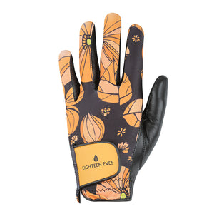 Women's Leather Golf Glove - Flower Power Orange