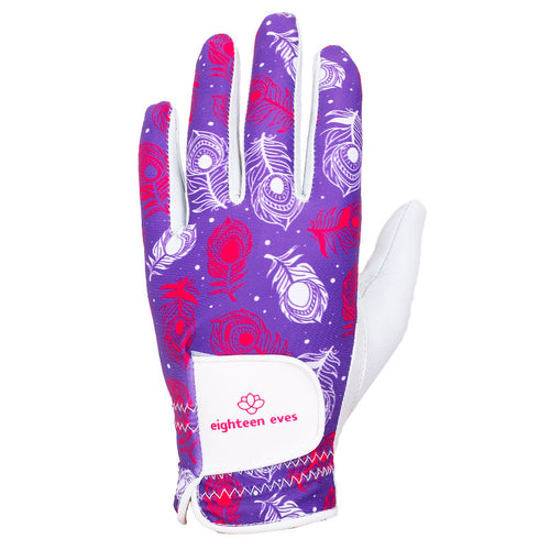 Women's Leather Golf Glove - Vanity of a Peacock Purple - Eighteen Eves