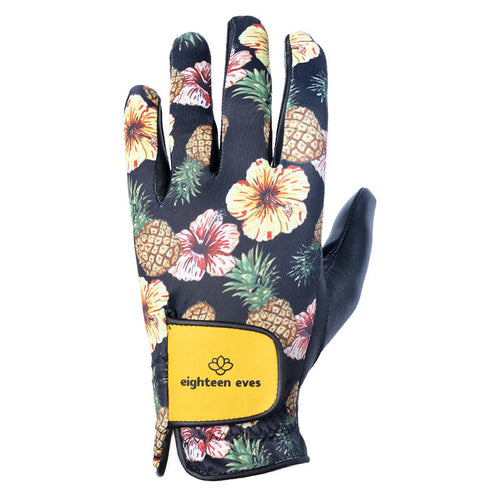 Women's Leather Golf Glove - Aloha! Black - Eighteen Eves