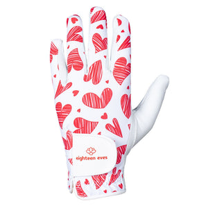 Women's Leather Golf Glove - Queen of Hearts Red - Eighteen Eves