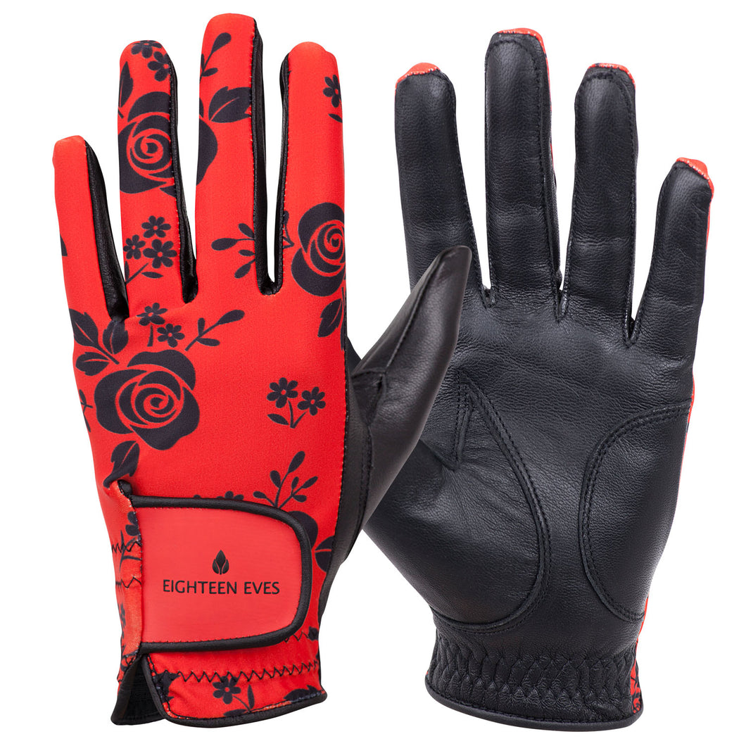 Women's Leather Golf Glove - Roses are Red - Eighteen Eves