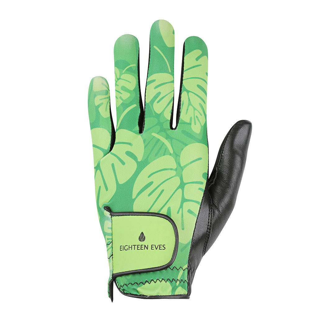 Women's Leather Golf Glove - Tropical Vibes Green