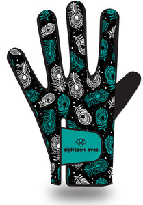 Women's Leather Golf Glove - Vanity of a Peacock Green - Eighteen Eves