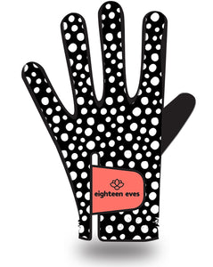 Women's Leather Golf Glove - Well Spotted Black - Eighteen Eves