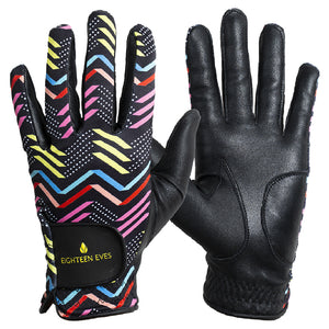 Women's Leather Golf Glove - Zag & Zig Black
