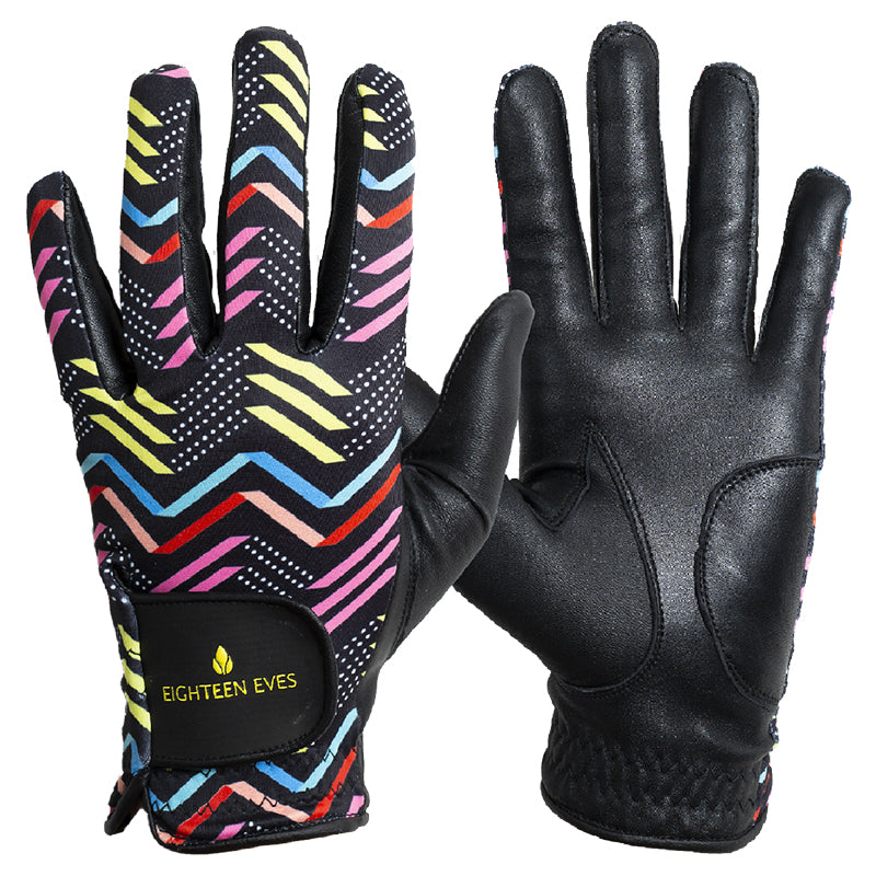 Women's Leather Golf Glove - Zag & Zig Black - Eighteen Eves