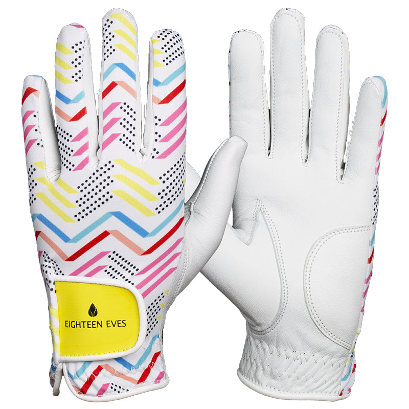 Women's Leather Golf Glove - Zag & Zig White