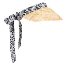 Load image into Gallery viewer, Women's golf visor with straw brim, black and white Zebra print band that ties into a bow at the back