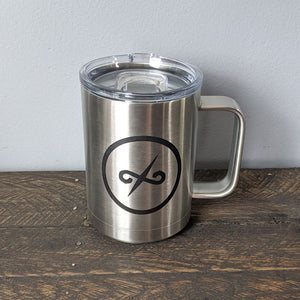 15 oz Stainless Mug with Balanced Direction Jeremiah Craig Logo